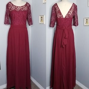 Burgundy wine bridesmaid dress lace top NWT